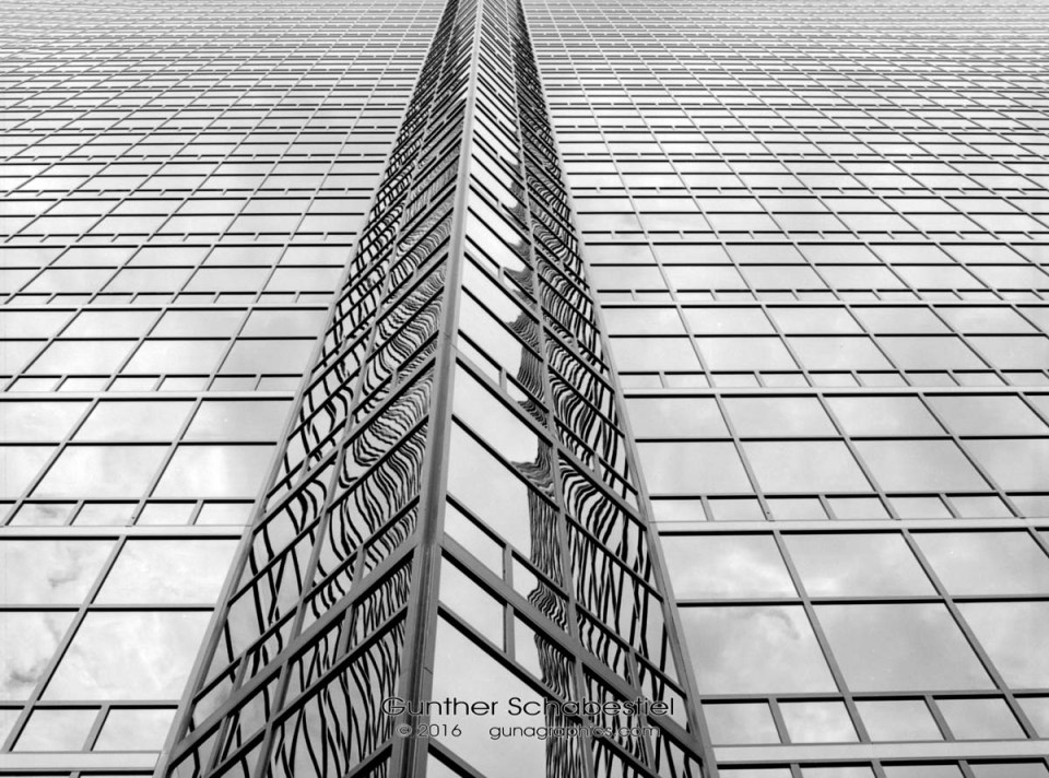 Triangle Detail of Building lookin up. Southfield, Michigan