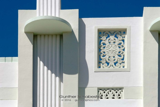 Architectural detail of Art Deco building in South Beach. The verticle distortion was removed in PS. D2x Digital